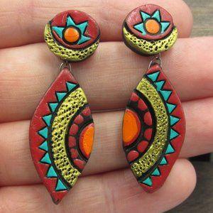 Sterling Silver Weird Tribal Style Dangle Earrings